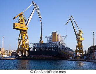 grande, barco, en, muelle seco