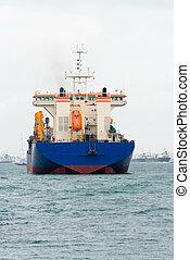 grande, barco, vista trasera