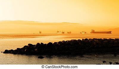 grande, barcos, en, vancouver, puerto