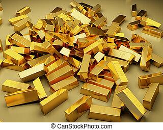 grande, barre, mucchio, oro