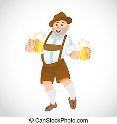 grande, bavarian, homem, vidro cerveja