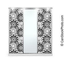 grande, bianco, wardrobe., illustrazione, 3d