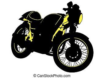 grande, bicicleta, motor