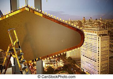 grande, bilboard, encima, la ciudad, plano de fondo
