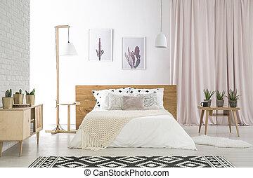 grande, blanco, beddings, cama