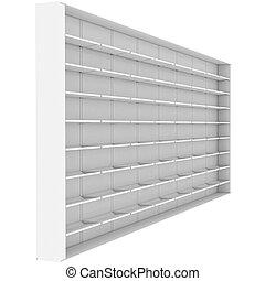 grande, blanco, estantes