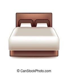 grande, blanco, vector, aislado, cama