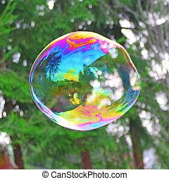 grande, bolha sabão