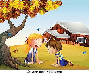 grande, borboletas, crianças, árvore, tocando