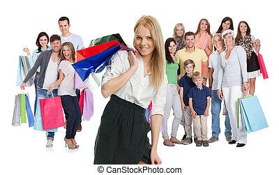 grande, borse, shopping, gruppo, persone