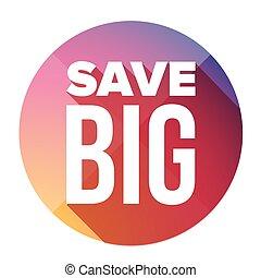 grande, botão, salvar