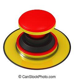 grande, botão, vermelho