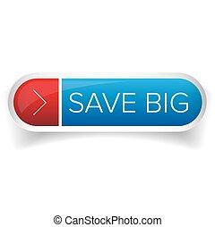 grande, botão, vetorial, salvar