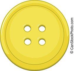 grande, botón, aislado, amarillo