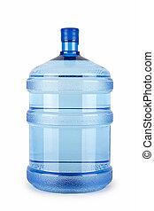 grande, botella, agua pura, plano de fondo, blanco
