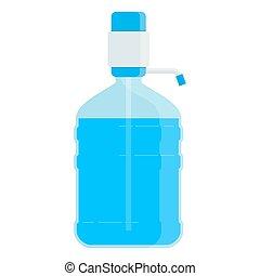 grande, bottiglia, con, acqua