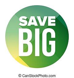 grande, bottone, risparmiare