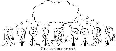 grande, brainstorming, uomini affari, squadra, durante, cartone animato