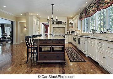 grande, branca, cabinetry, cozinha