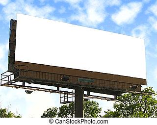 grande, branca, em branco, billboard.