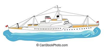 grande, branca, navio