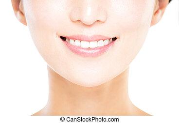 grande branco, mulher sorri, dentes, jovem, saudável