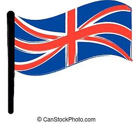 grande-bretagne, drapeau, fond blanc