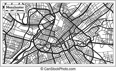 grande-bretagne, ville, manchester, style., carte, contour, ...