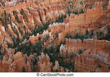 grande, bryce, usa., parque, lejos, agujas, utah, cañón, tallado, erosión, nacional