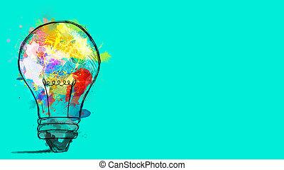 grande, bulbo, sfondo colorato, stilizzato, luce, cyan, disegnato, schizzi, concetto, innovazione, paint., creatività