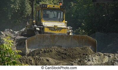 grande, bulldozer, a, il, luogo costruzione
