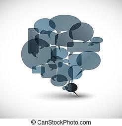 grande, burbuja del discurso, gris