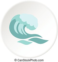 grande, círculo, onda, icono