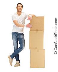 grande, caixas, bonito, homem