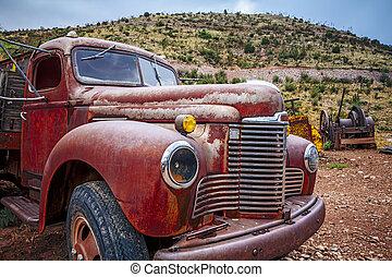 grande, caminhão, enferrujado, antigas, pickup