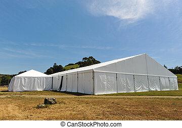 grande, campo, festa, bianco, se, tenda