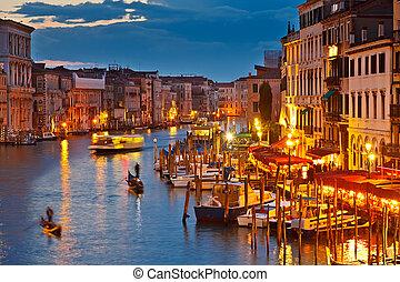 grande canale, notte, venezia