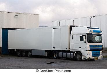 grande, carga, camión, muelle