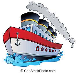 grande, caricatura, buque de vapor