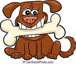 grande, caricatura, hueso, perro