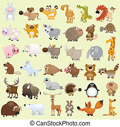 grande, caricatura, jogo animal