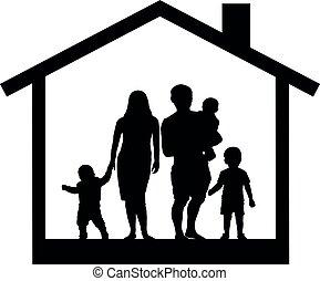 grande, casa, silhouette, famiglia