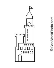 grande, castello, icona