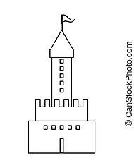 grande, castelo, ícone