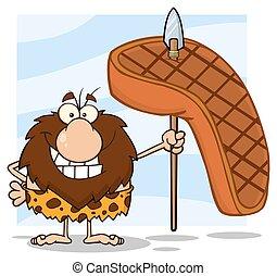 grande, caveman, bistecca, cacciatore