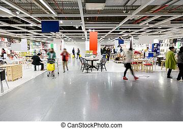 grande, centro commerciale, mobilia