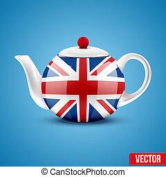 grande, cerámico, bandera, plano de fondo, inglés, britain., tetera