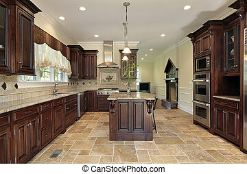 grande, cereja, madeira, cabinetry, cozinha