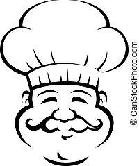 grande, chef, sonriente, bigote, rizado