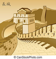 grande, chinês, parede